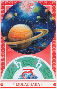 Chakra kaart Saturnus van Muladhara