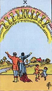 Tarotkaart Bekers Tien