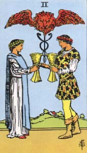 Tarotkaart Bekers Twee
