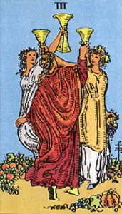 Tarotkaart Bekers Drie
