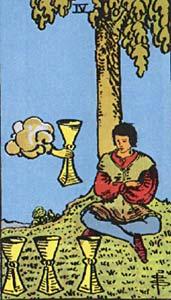 Tarotkaart Bekers Vier