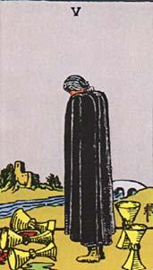 Tarotkaart Bekers Vijf