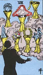 Tarotkaart Bekers Zeven