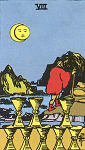 Tarotkaart Bekers Acht
