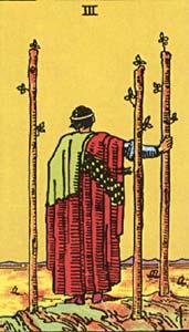 Tarotkaart Staven Drie