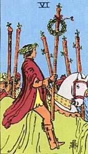 Tarotkaart Staven Zes