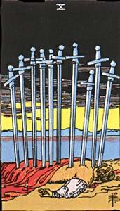 Tarotkaart Zwaarden Tien