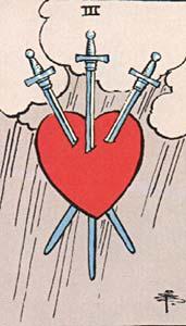 Tarotkaart Zwaarden Drie