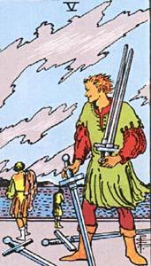 Tarotkaart Zwaarden Vijf