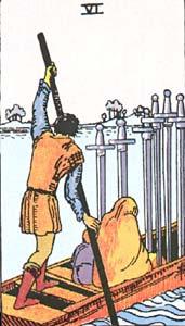 Tarotkaart Zwaarden Zes
