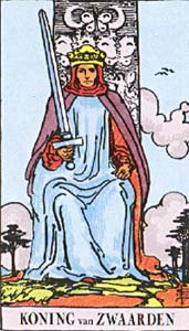 Tarotkaart Zwaarden Koning