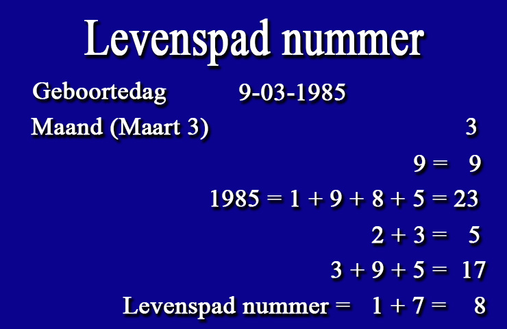 Numerologie - Levenspad nummer calculator